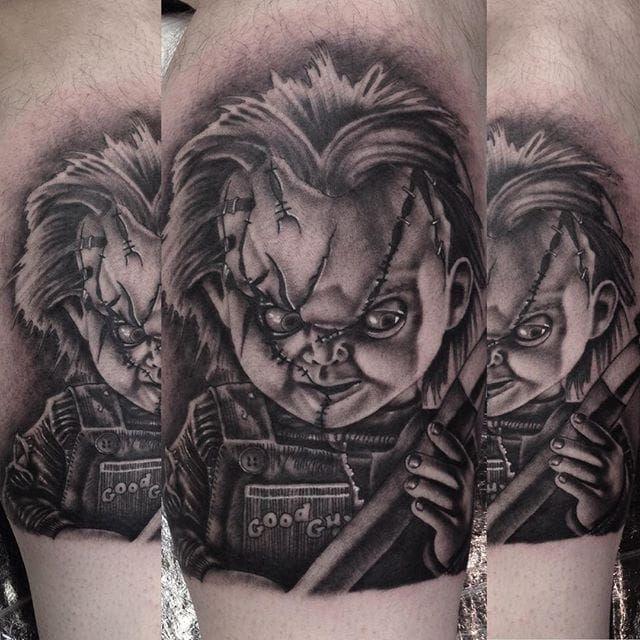 a4cf8fe58 Chucky's still as terrifying in black and grey. Tattoo by Paul Priestley. # Chucky #ChildsPlay #horror #doll #realism #blackandgrey #PaulPriestley