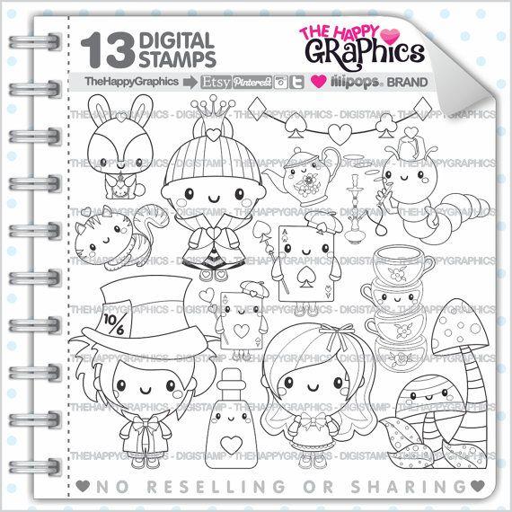 ★New listing! Alice in Wonderland digital stamps for