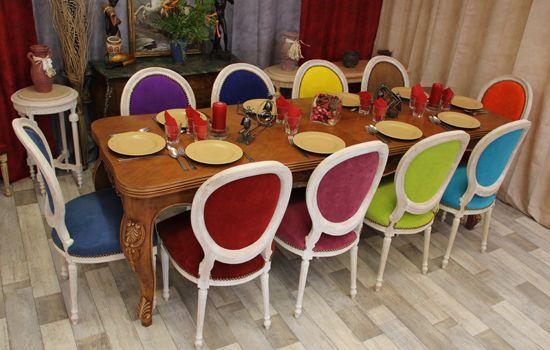 images chaises salle a manger rayées couleur