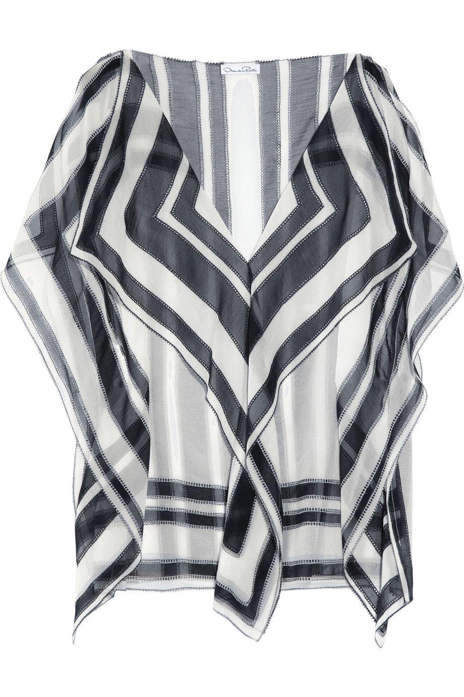 OSCAR DE LA RENTA Printed silk-chiffon top $890