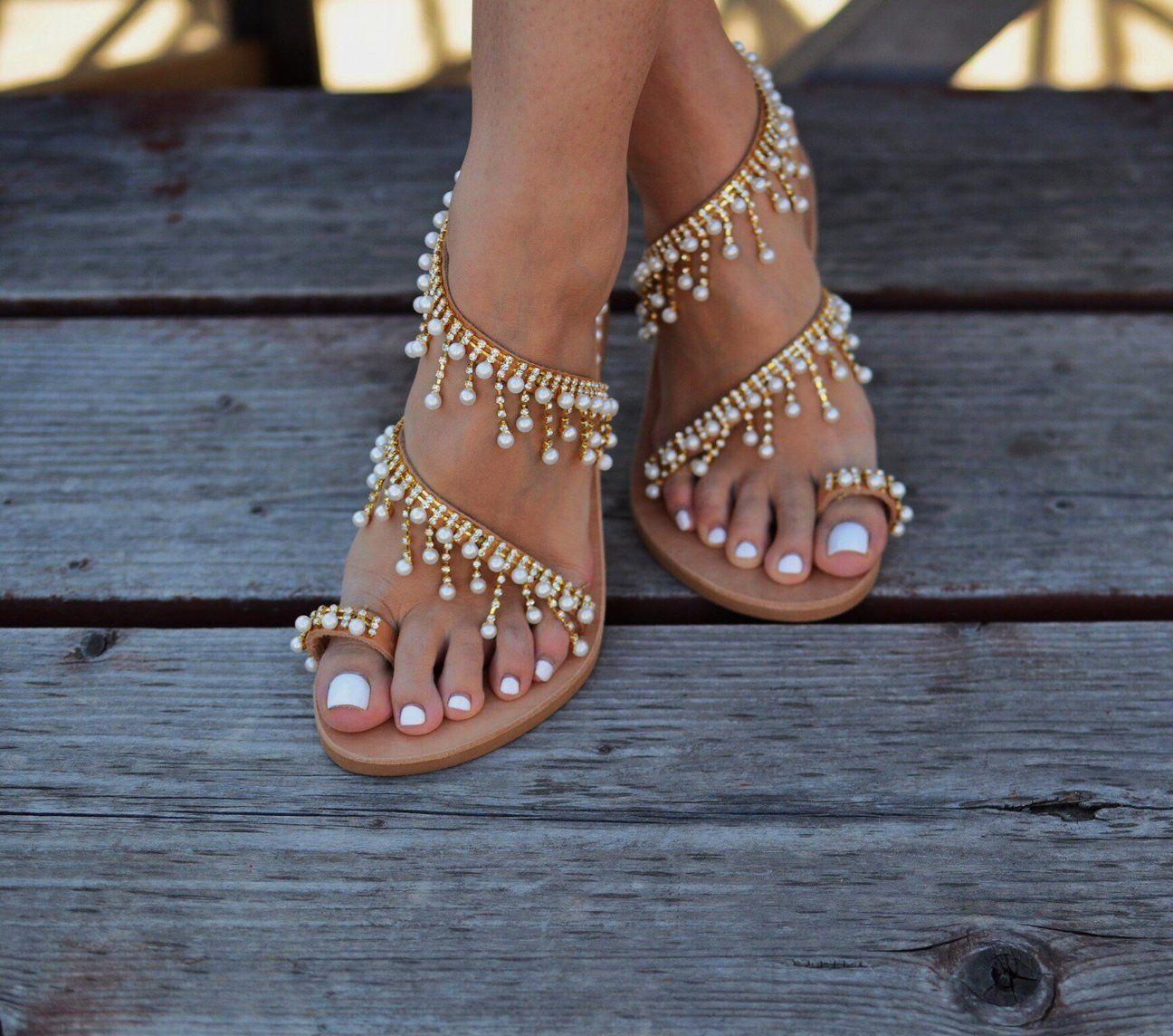 79608da77 Prettymia Plus Size Toe Ring Rhinestone Pearl Flat Sandals