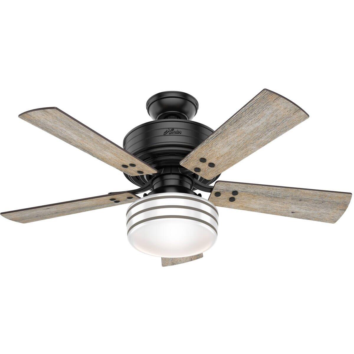 Hunter Cedar Key 44 Indoor Outdoor Ceiling Fan In Matte Black In 2021 Ceiling Fan Outdoor Ceiling Fans Coastal Ceiling Fan