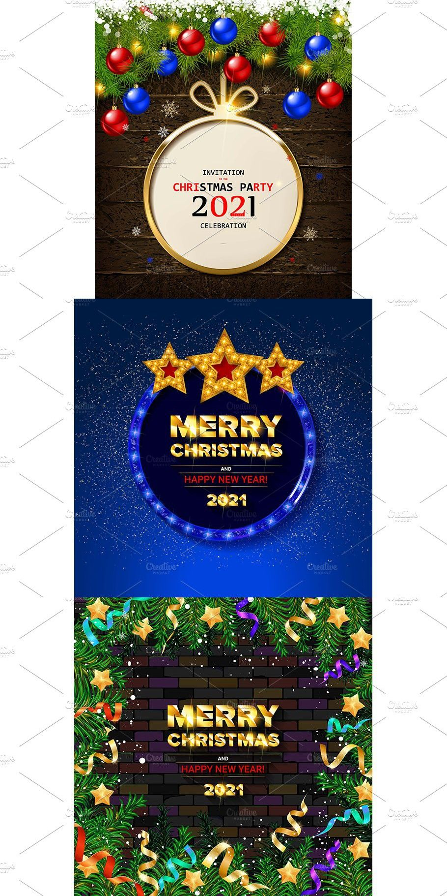 3 Christmas Cards Merry Christmas And Happy New Year Christmas Cards Christmas Party Invitations 2021 happy new year christmas ball