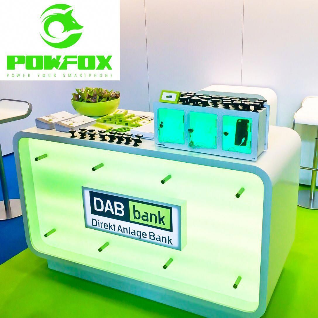 Powfox Box3 At The Dab Bank Booth At The Investmentkongress Exhibition In Munich Booth By Easy Welcome Gmbh Smartphone Battery Storage Phone Charger