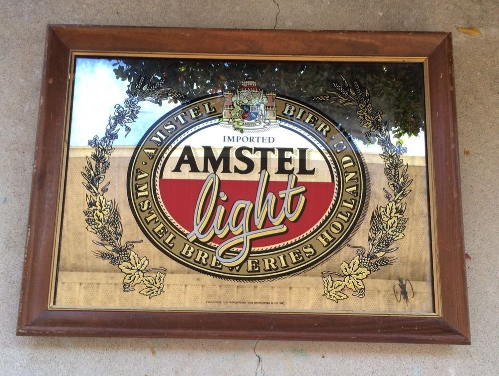 Vintage Amstel Light Beer Mirror Framed Bar Beer Man Cave Decor