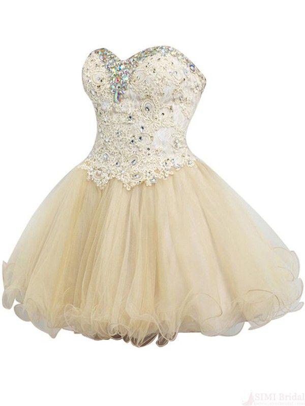 A-line Sweetheart Mini Tulle Beading Appliques Homecoming Dress  #homecomingdresses #SIMIBridal