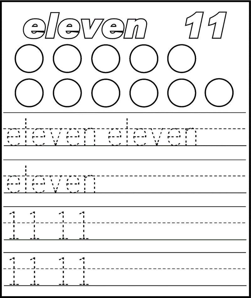 Number 11 Worksheet Trace Printable Preschool Worksheets Preschool Worksheets Preschool Number Worksheets