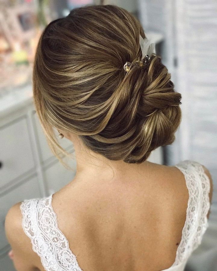 Beautiful Wedding Hairstyle For Long Hair Perfect For Any: This Beautiful Chignon Twist Updo Wedding Hairstyle