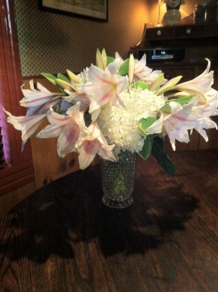Arrangement of Crinum lilies and hydrangea. Birmingham Gardening Today