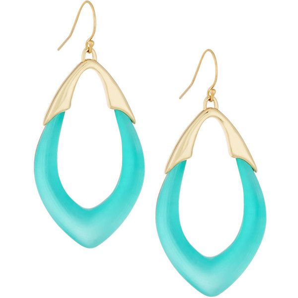 Alexis Bittar Medium Lucite Orbit Link Drop Earrings (£50) ❤ liked on Polyvore featuring jewelry, earrings, aqua, lucite jewelry, lucite drop earrings, aqua jewelry, alexis bittar jewelry and 14 karat gold jewelry