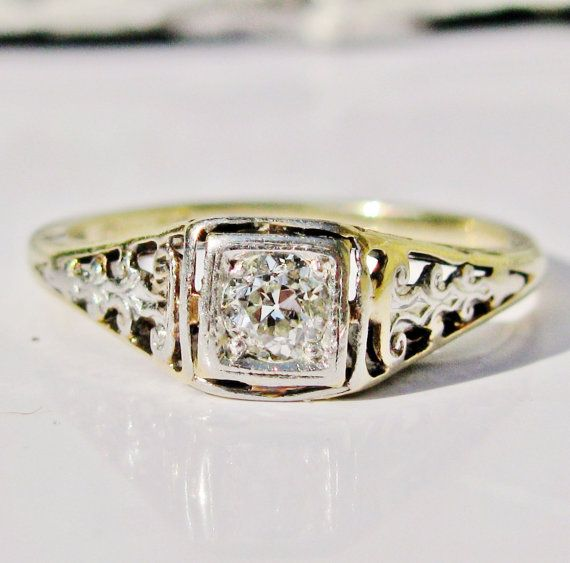 Antique Engagement Ring Old European Cut by LadyRoseVintageJewel