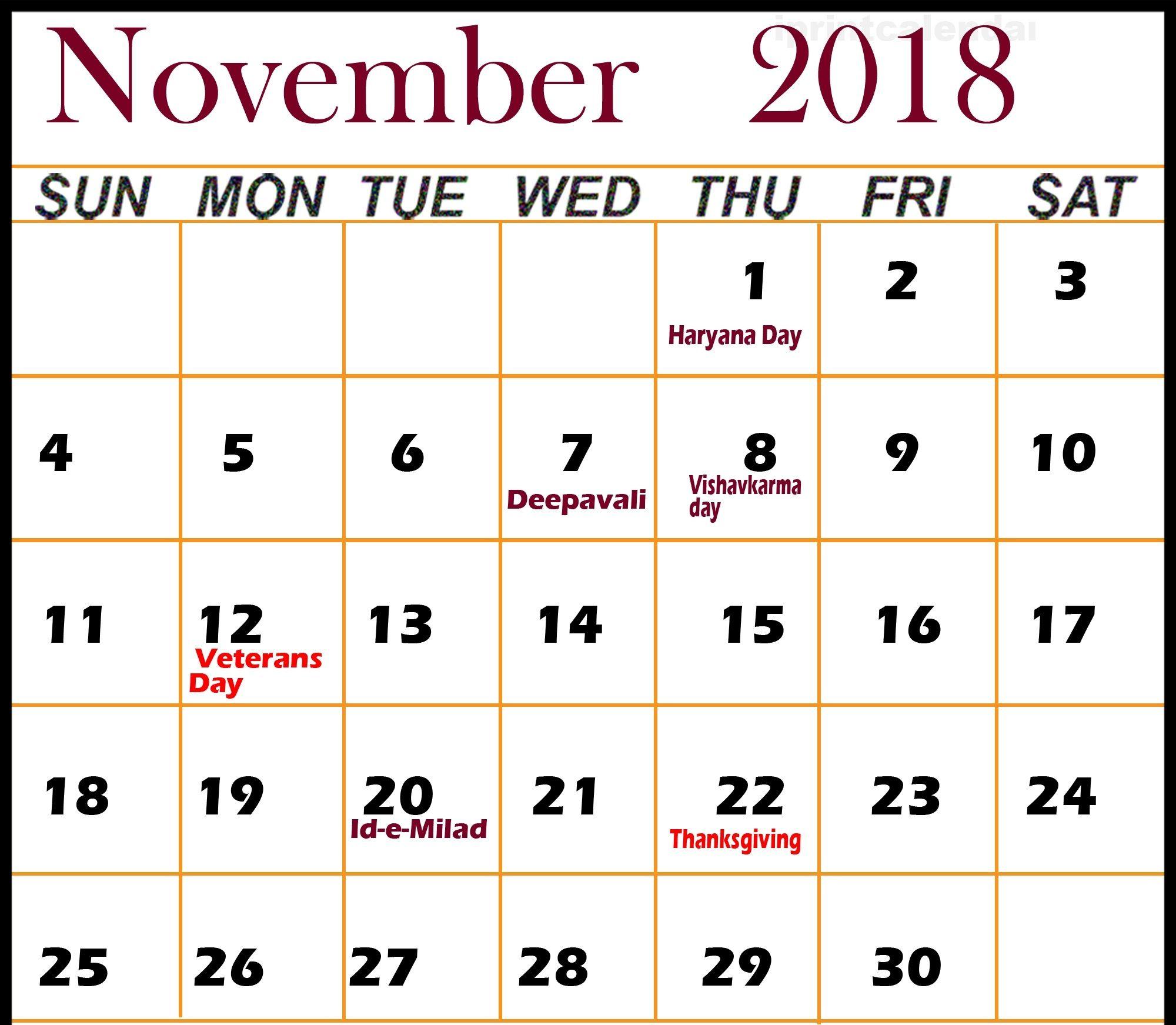 November 2018 Calendar With Holidays November Calendar Event Calendar Calendar Usa