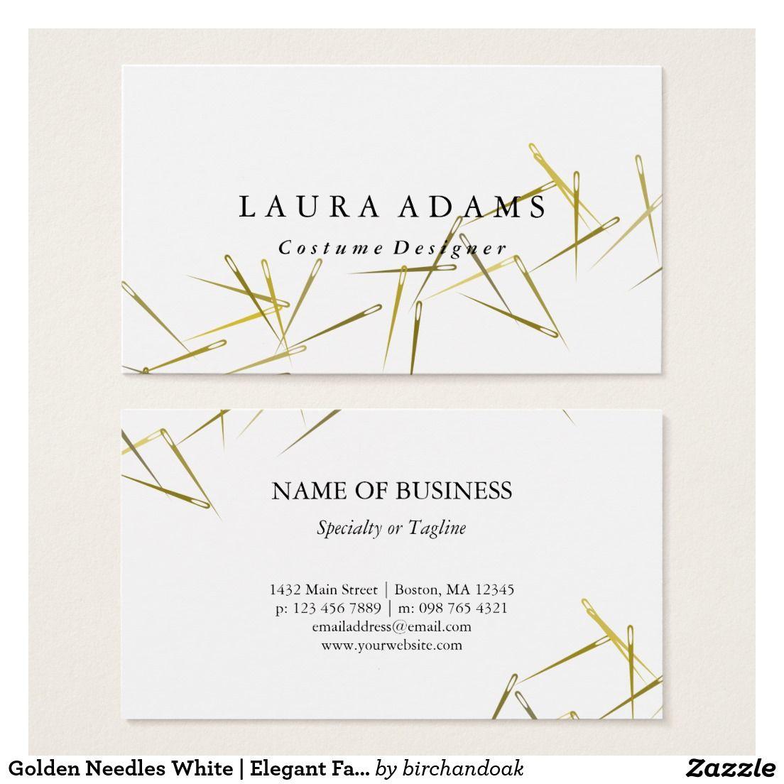 Needles white elegant fashion designer business card golden needles white elegant fashion designer business card magicingreecefo Images