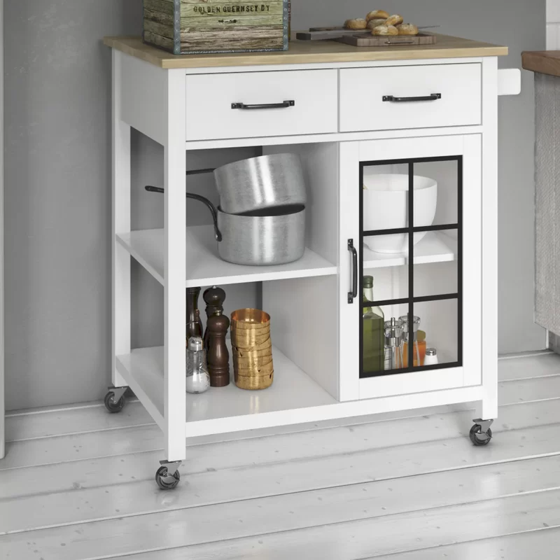 Wommack Rolling Kitchen Cart With Solid Wood Top Rolling Kitchen Cart Kitchen Island With Granite Top Kitchen Cart