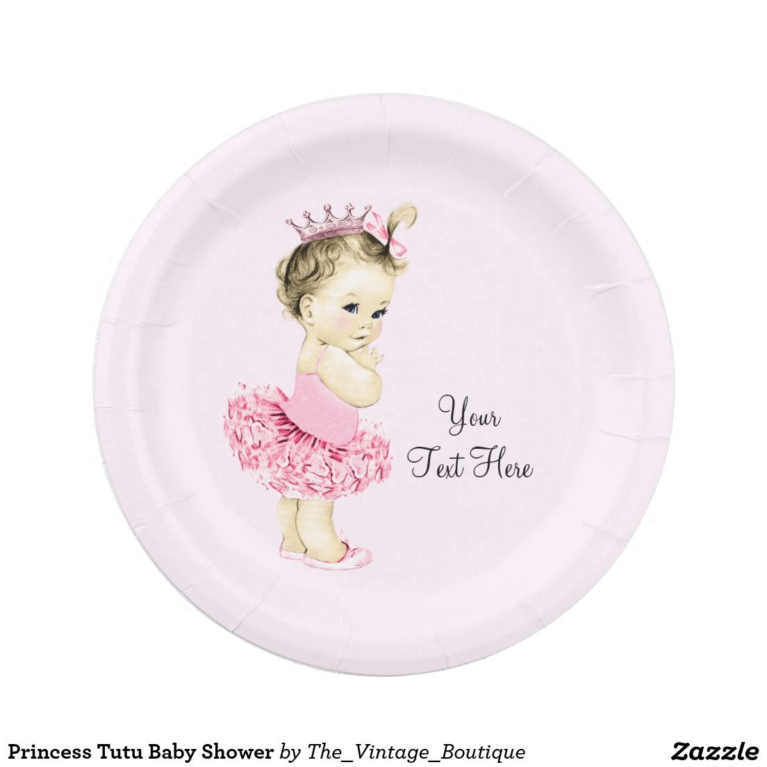 Princess Tutu Baby Shower 7 Inch Paper Plate