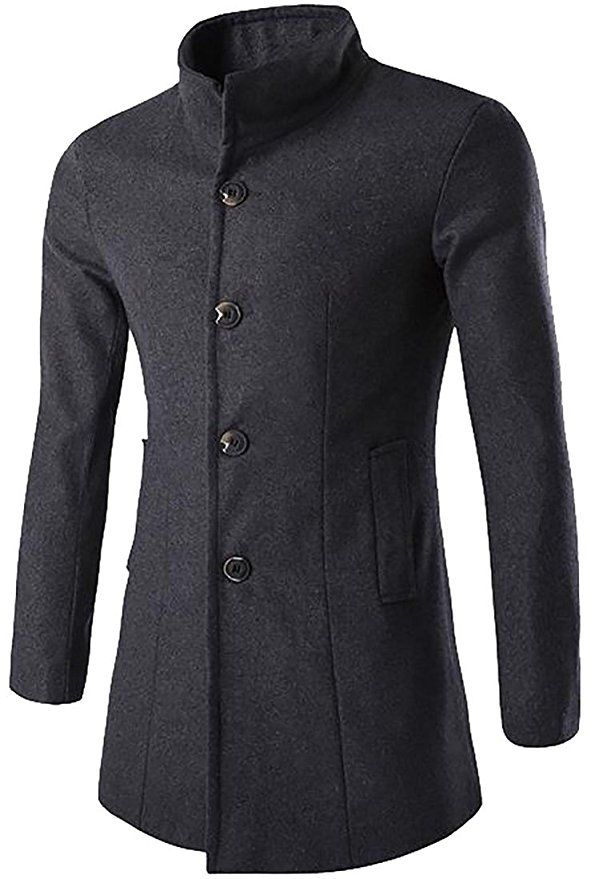 99bb78c550 Stand Collar Single Breasted Wool Blend Pea Coat Grey   Men's Style ...