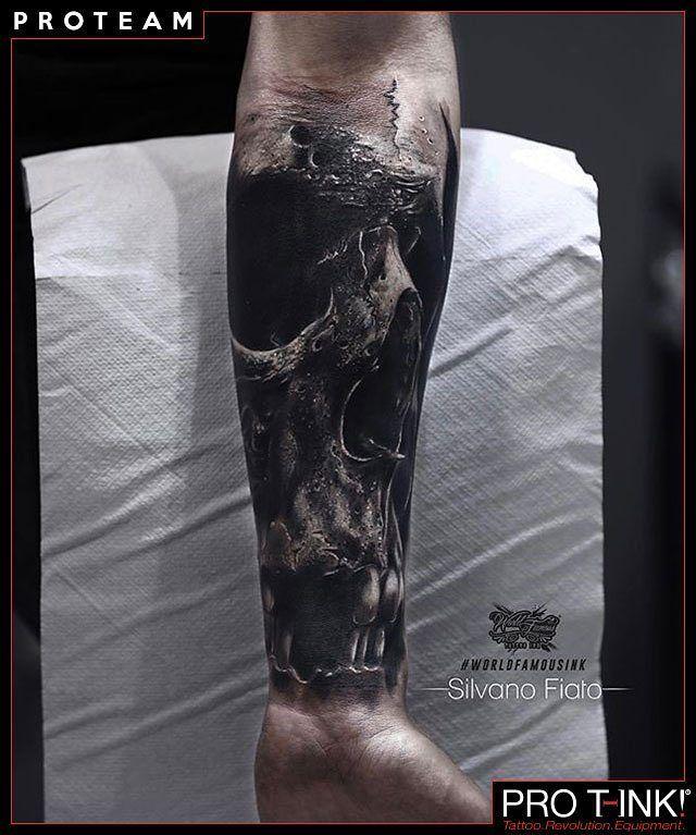 Amazing #SkullTattoo by Pro T-Ink #proteam Artist Silvano Fiato @silvanofiato made with EVO10 #TattooStation! Get yours!  http://www.pro-t-ink.com . #silvanofiato #silvanofiatoblackwashset #protink #evo10 #tattoosetup #inktrays #italiantattooartist #topartist #bestequipment #realistictattoo #blackandgrey