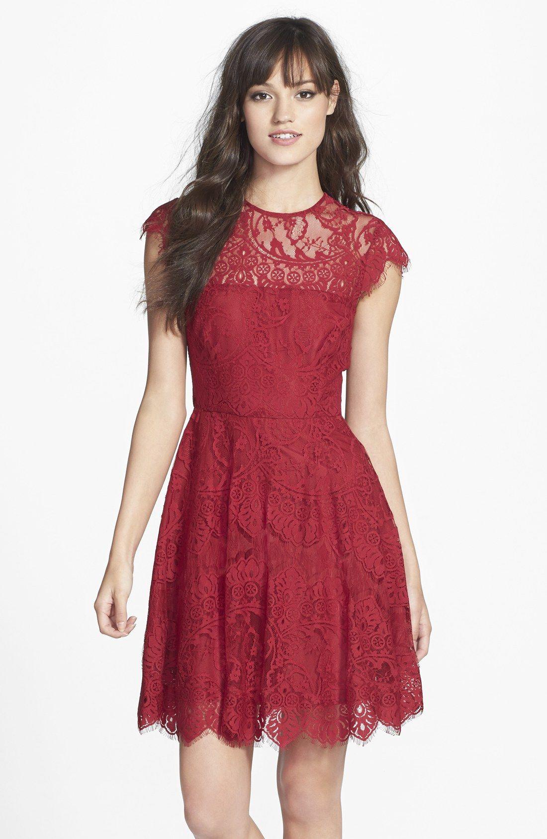 Rhianna Illusion Yoke Lace Fit Flare Dress