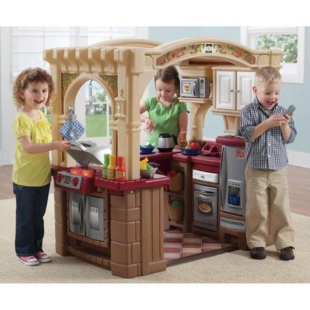 Step2 Grand Walk In Kitchen Amp Grill With 103 Accessories Walmart Com Play Kitchen Kitchen Grill Food Accessories
