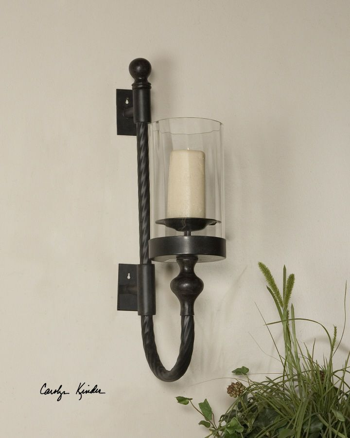 Tuscan Candle Wall Sconce Black Metal W Red Undertones Hurricane Gl Globe