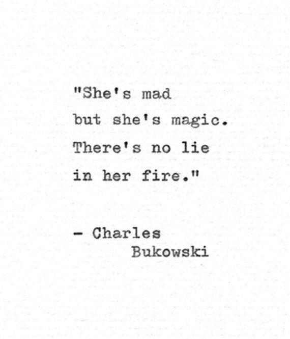 "Charles Bukowski Letterpress Quote ""She's mad but she's magic..."" Vintage Typewriter Love Print Hand"