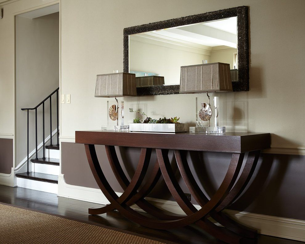 Glass Console Table Hall Contemporary With Dark Wood Floors Jute