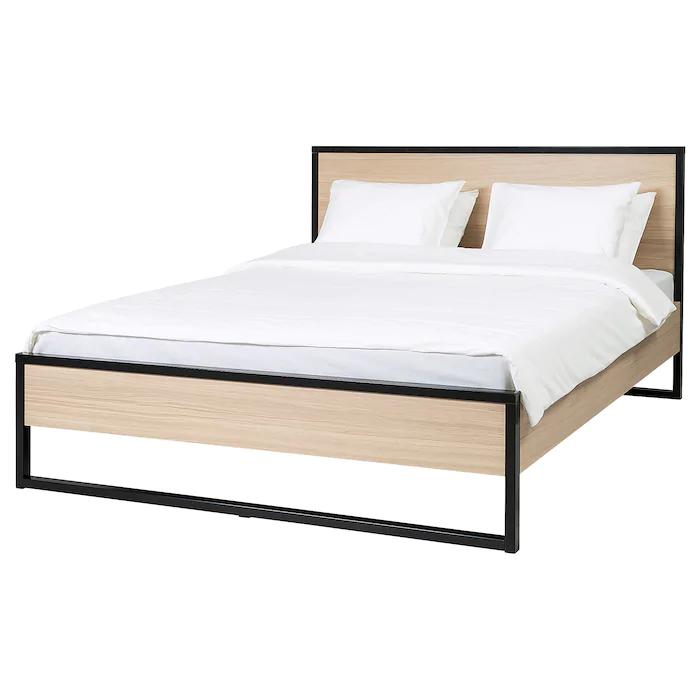 Oksfjord Bettgestell Eichenfurnier Weiss Lasiert Schwarz Ikea Osterreich In 2020 Bettgestell Bett Ideen Bett Holz