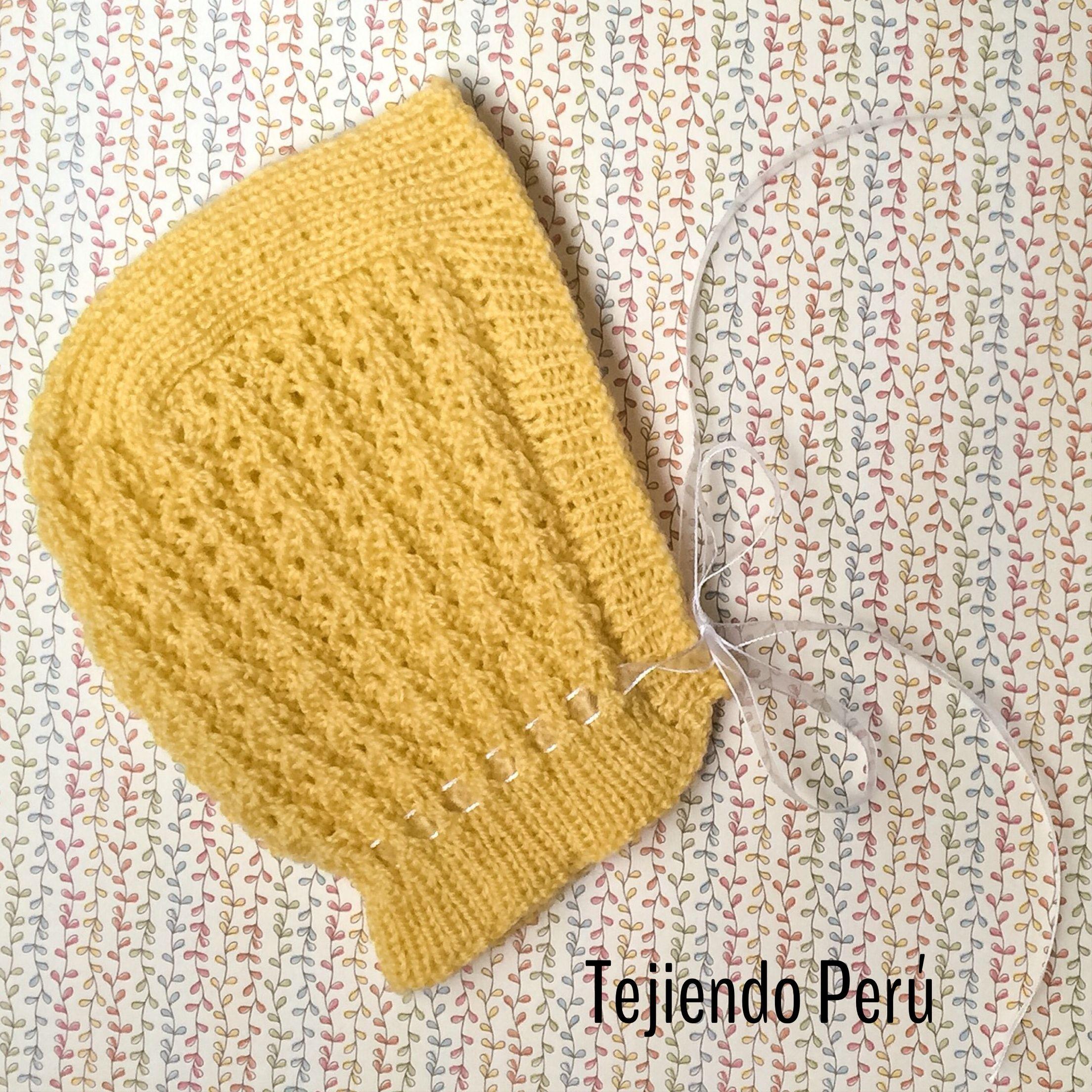 Gorro cl sico tejido en dos agujas o palitos para beb s - Tejidos en dos agujas paso a paso ...