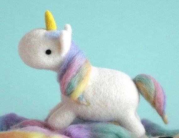 US Seller, 1 Mini Sweet Little Unicorn, DIY Needle Felting Kit, Fiber Art,  Wool Roving, Fast & Free Shipping #littleunicorn