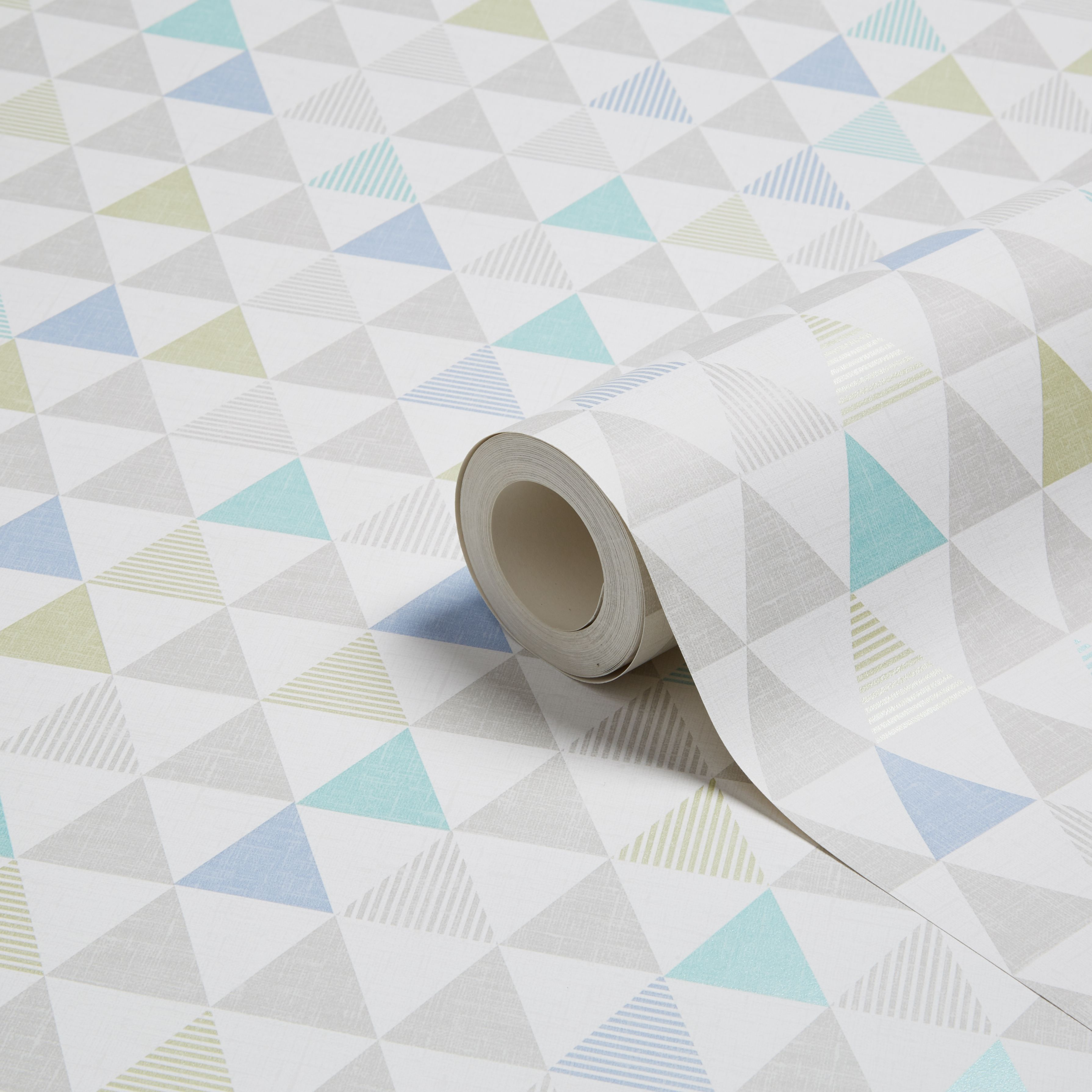 K2 Oslo Blue Geometric Wallpaper Departments Diy At B Q
