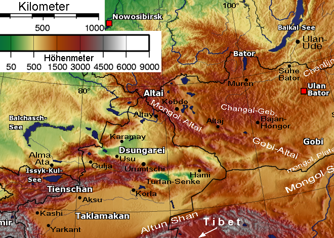 Physical map showing the separation of Dzungaria and the ...