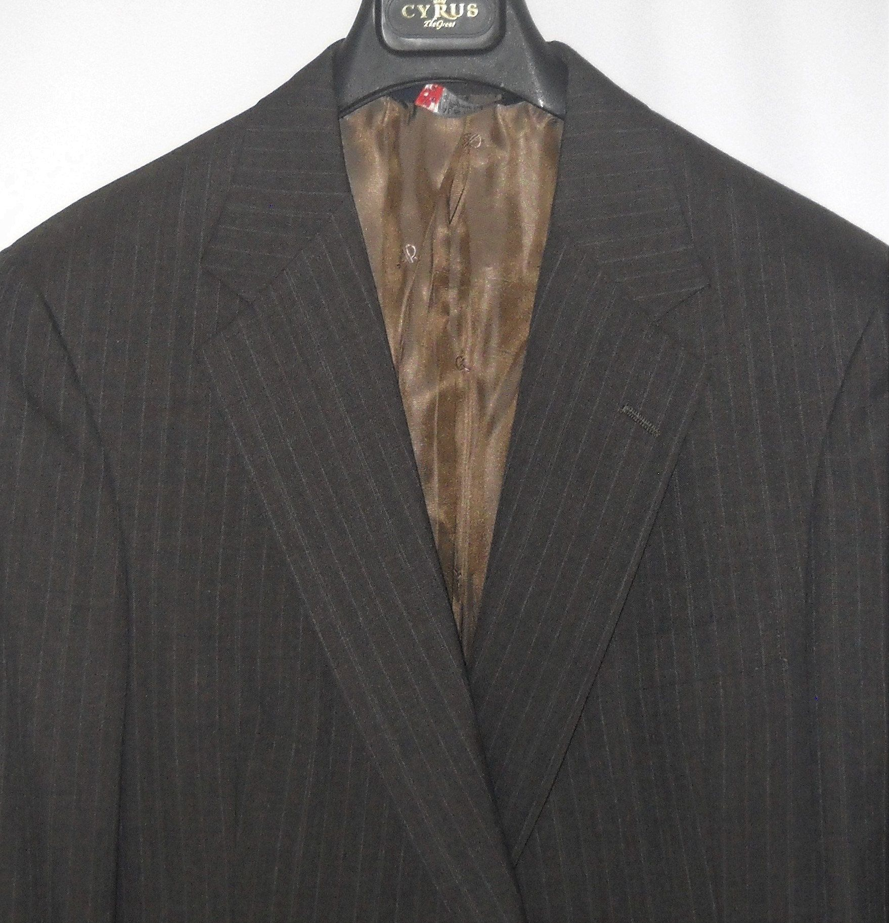 44r Austin Reed Regent Street Ayrshire Gray Pinstripe 2 Button Etsy In 2020 Brown Pinstripe Cuffed Pants Austin Reed