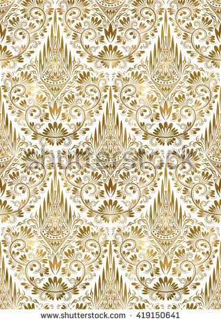 Golden White Vintage Seamless Pattern Gold Royal Classic Baroque Wallpaper Arabic Background Ornament Background Vintage Gold Stock White Vintage White and gold wallpaper repeating