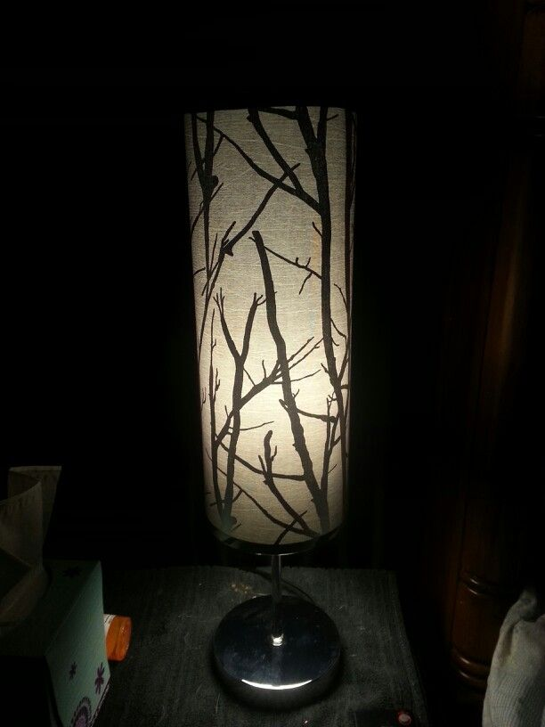 My Beautiful Gray & Silver Birch Lamp for my new mirrored night table!  ♥ THIS LAMP and it was a steal for only $10.00 at Family Dollar!