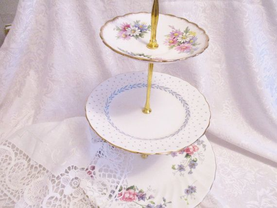 Vintage english 3 tier tea stand bone by EnglishGardenTeaShop