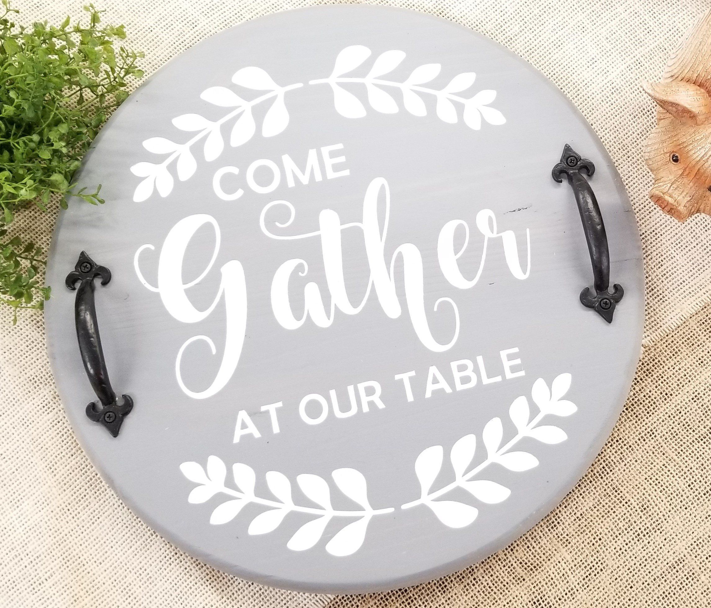 Rustic Farmhouse Round Wood Tray, 16, Hand-painted - 16 / White with Black Lettering