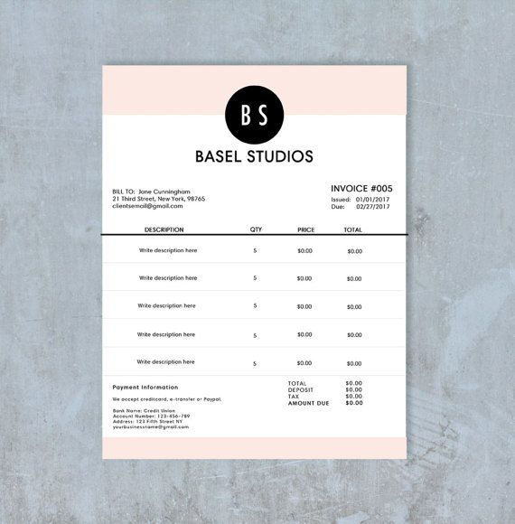 Invoice Template Billing Template Photography Invoice - photography invoice