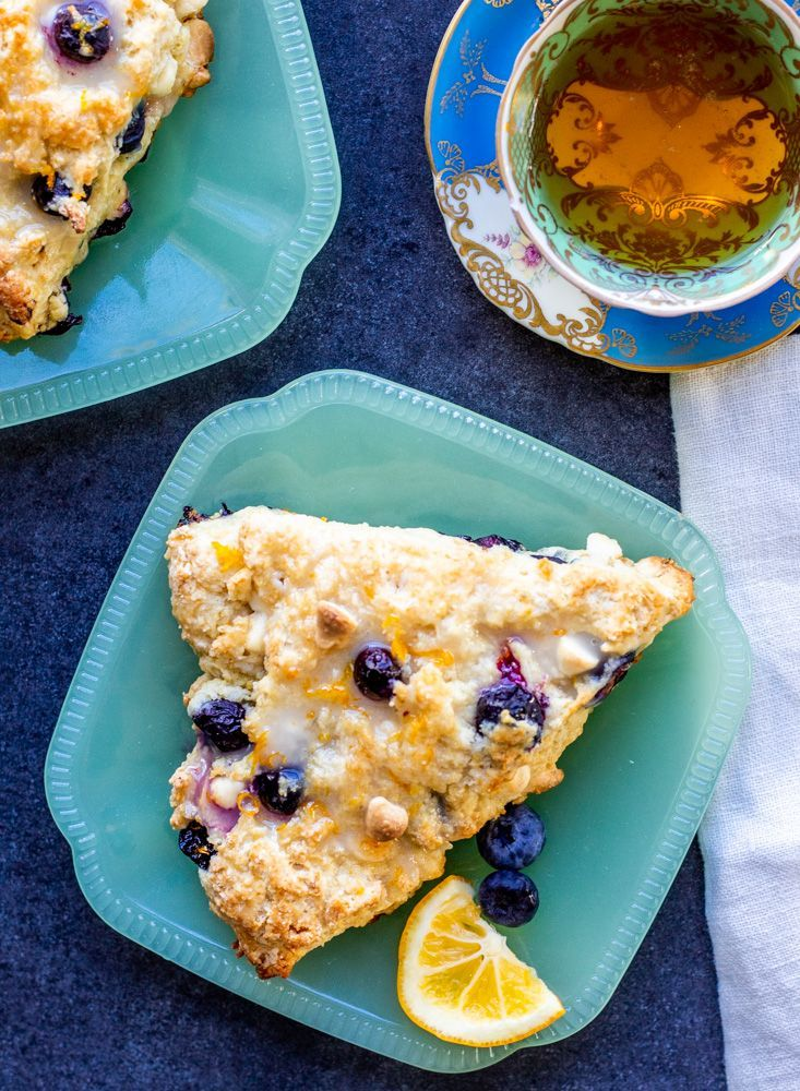 These Blueberry White Chocolate Scones with Lemon Glaze are the perfect sweet breakfast or afternoo