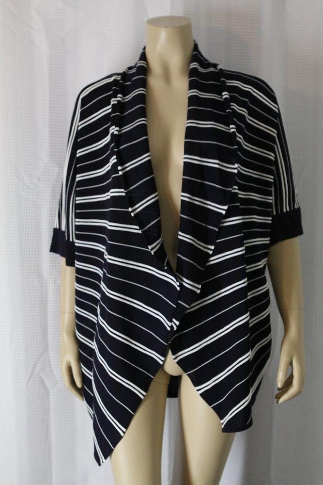cf599a68eb21e EXCLUSIVELY MISOOK Open Cardigan Jacket Sz Small Navy/White Stripes…