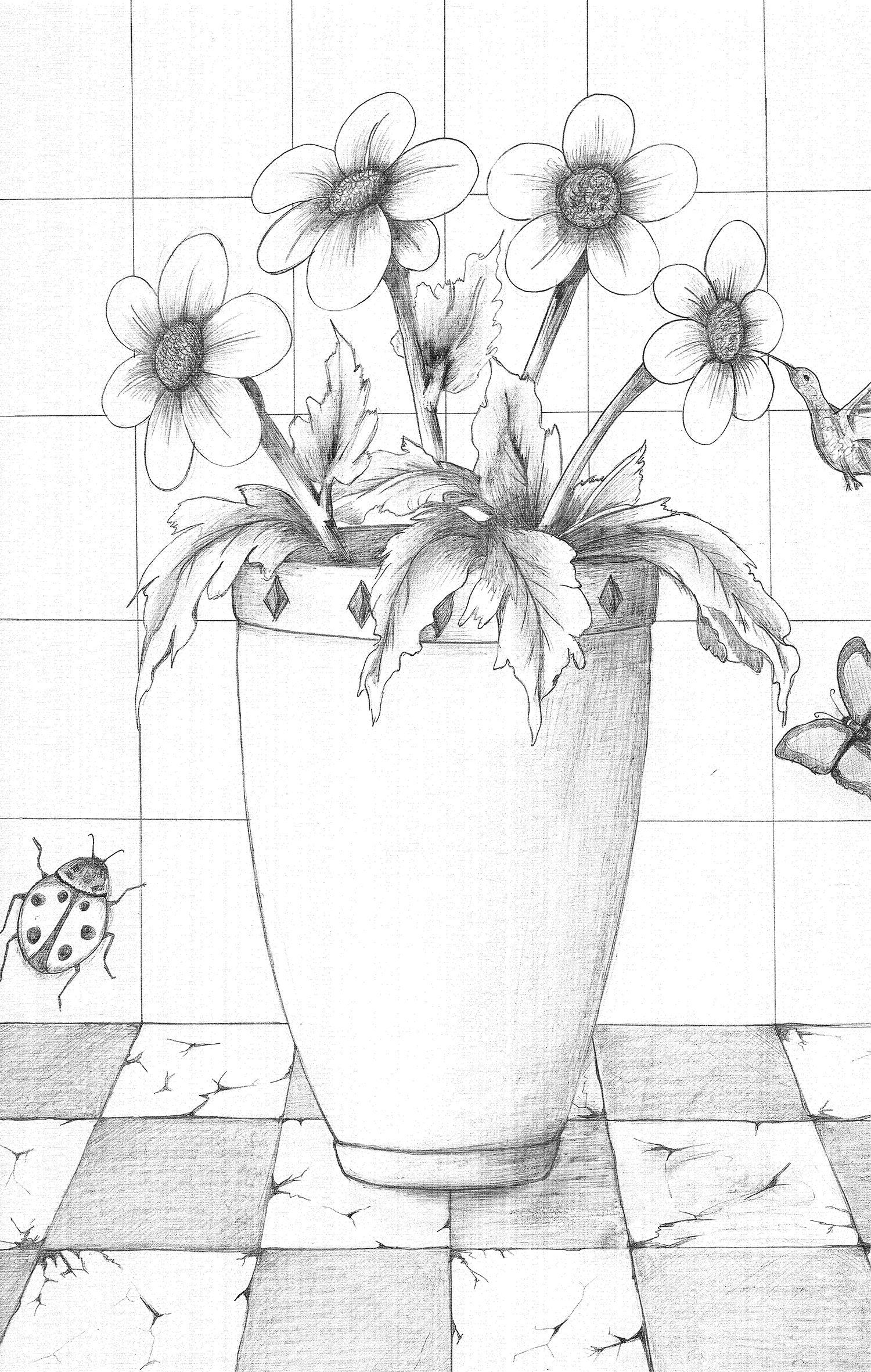 Vazoda Cicek Gorsel Sanatlar Vazolar Cizim Fikirleri
