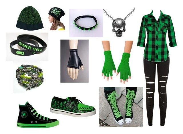 """Poison Skull"" by animefan333 ❤ liked on Polyvore featuring Converse, T.U.K., American Apparel and Versace"