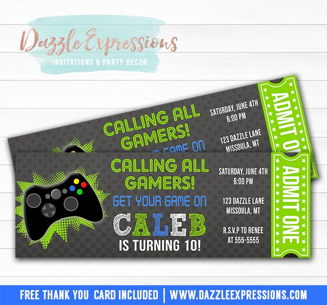 Printable Chalkboard Video Game Ticket Birthday Invitation - party ticket template