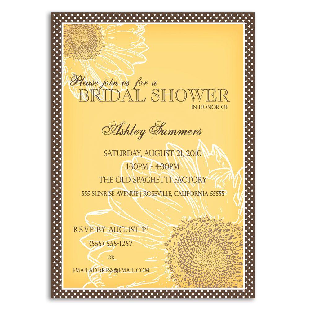 Sunflower Bridal Shower Invitations | Bridal Shower | Pinterest ...