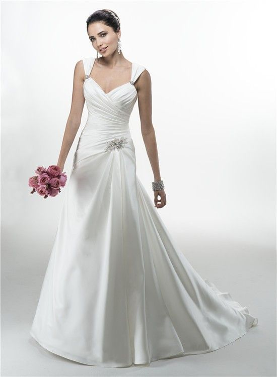 A Line Sweetheart Ruched Satin Corcet Wedding Dress With Straps Wedding Dresses With Straps Wedding Dresses Bow Wedding Dress