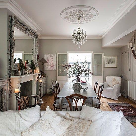Grey Open Plan Christmas Dining Room