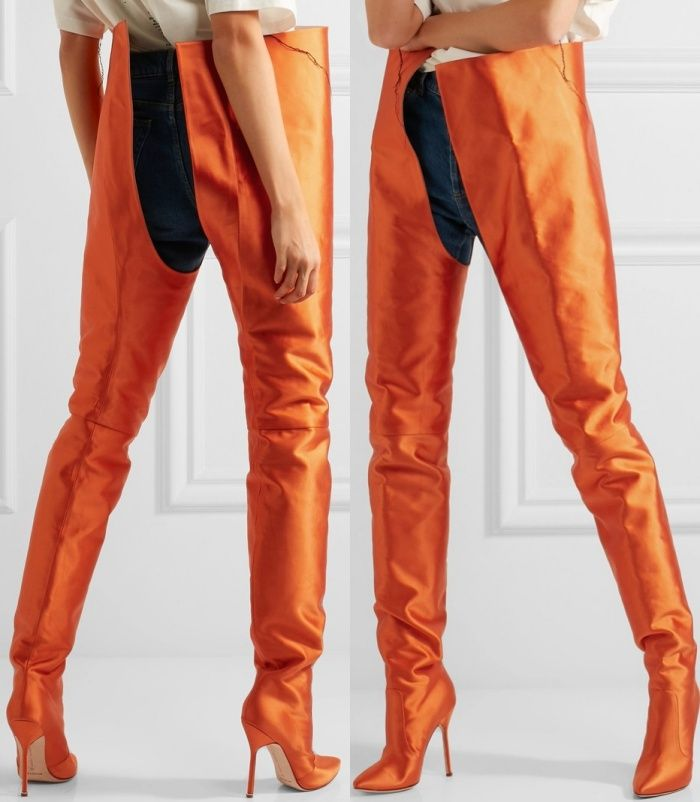 647cedbd446 Vetements x Manolo Blahnik Satin Boots in Bright Orange