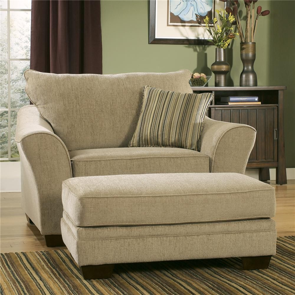 Lena Putty Chair and 1/2 with Ottoman by Ashley