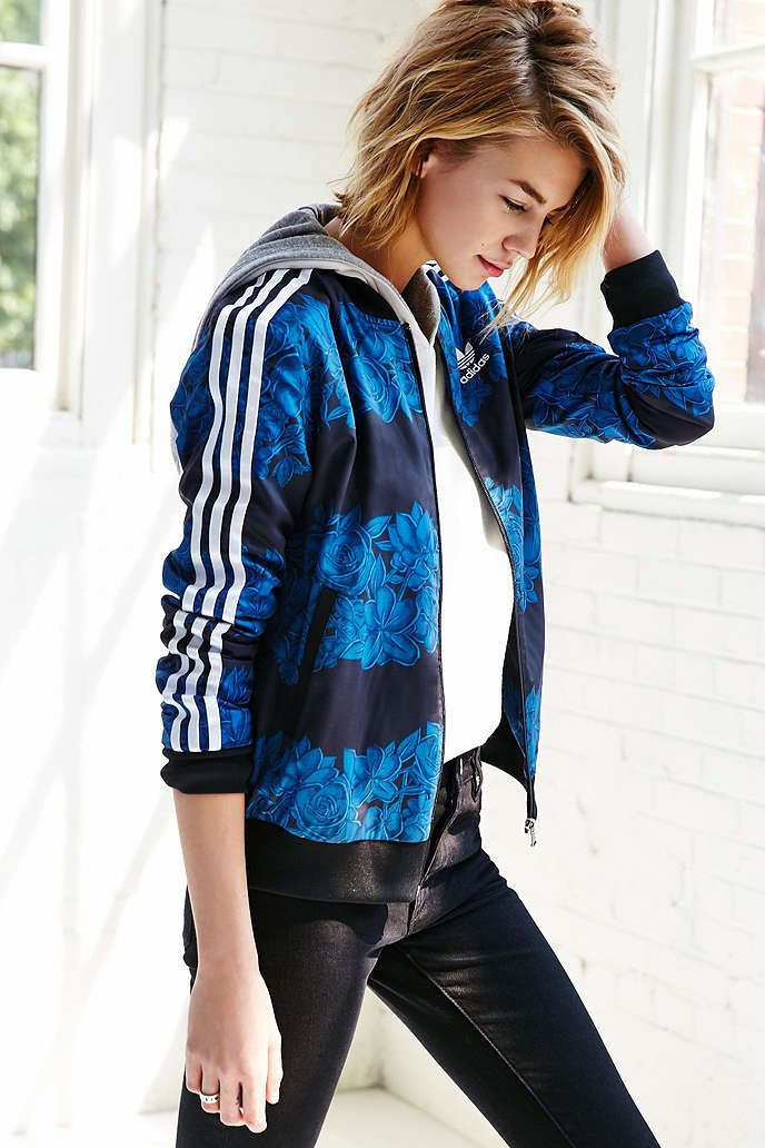 new product 591b9 8b772 adidas Blue Floral Track Jacket - Urban Outfitters