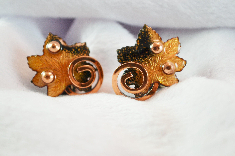Vintage copper enamel clip on earrings
