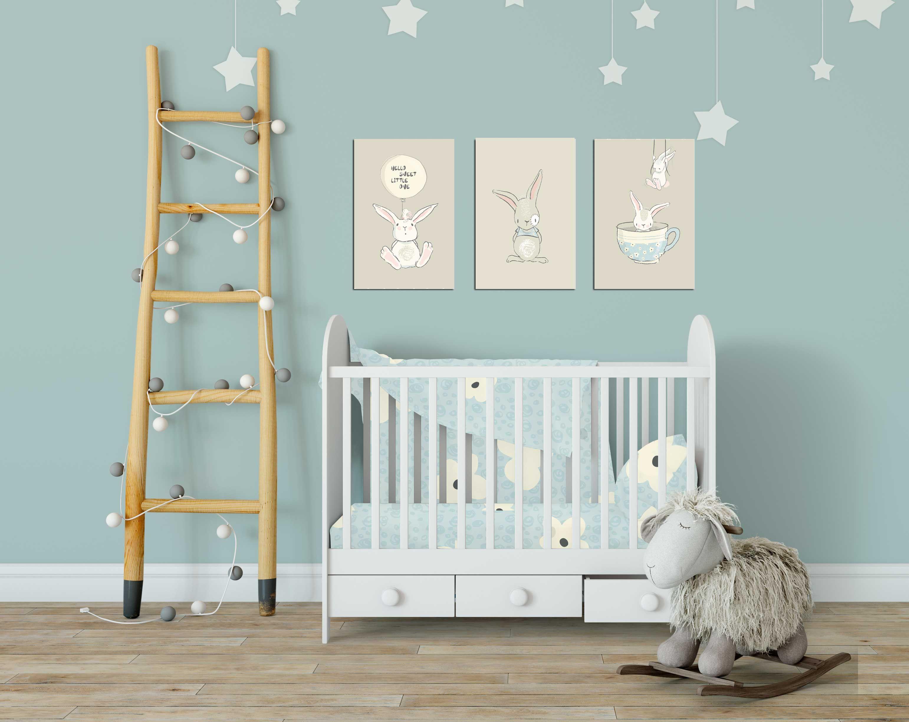 Poster Babykamer Pastel : Rustige lieve voornamelijk grijze print. zeer geschikt voor de